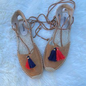 SOLUDOS Tassel Lace-Up Platform Espadrille Shoes